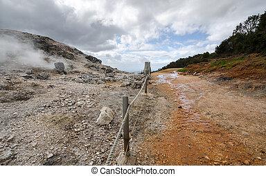 way between the geysers in Monterotondo in Grosseto