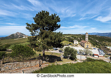 Way down from Sant Antonino village to the church in Corsica...