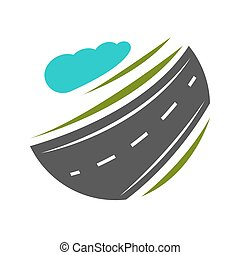 Way going forward and turning with abstract greenery vector