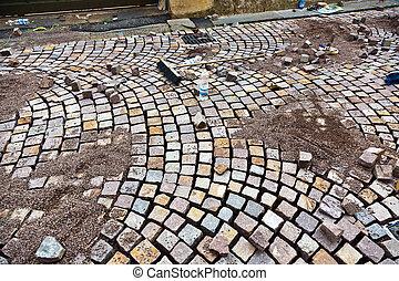 cobble stone under construction - way of cobble stone under ...