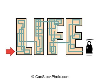 Way of life ends in death. At end of life seen  Grim Reaper  in black hood coat with braid. Illustration of an allegory of life. Maze, labyrinth of life.