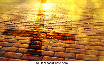 Way of salvation with shadow of the cross on slabs