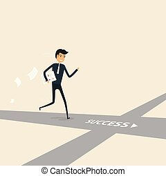 Way of success. Concept for success. Businessman walking on the street of success.