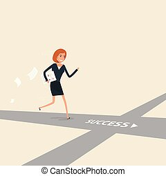 Way of success. Concept for success. Businesswoman walking on the street of success.