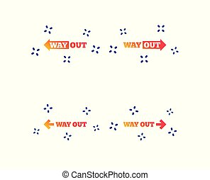 Way out icons. Left and right arrows symbols. Vector