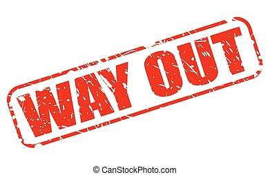 Way out red stamp text on white
