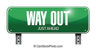 way out road sign illustration design