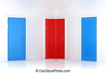 way:, rättighet, dörr, välja, begreppsmässig, hörna