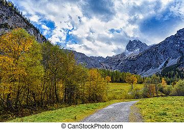 Way through autumn mountain landscape