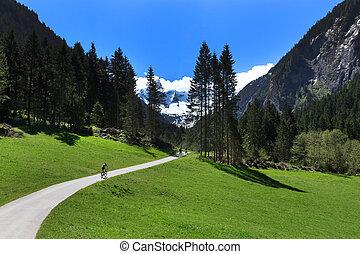 Way through mountain landscape in Stillup Valley Austria Tyrol