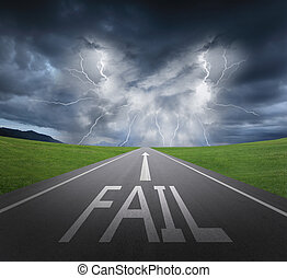 Way to Fail, rainstorm clouds and lightning with asphalt ...