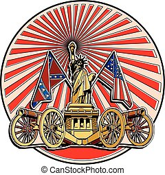 Vector badge on theme of American history with two guns and Statue of Liberty, executed in retro print style with colors misregistration effect. Easily edit: file is divided into logical layers and groups. File doesn't contains gradients, blends, transparency and strokes or other special visual ...