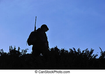 way to go - silhouette of hunter in South Westland's...