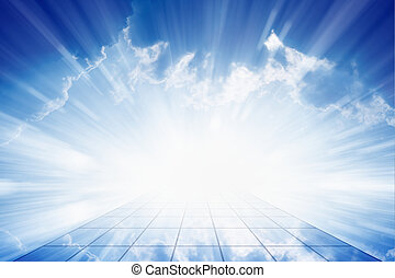 Peaceful background - beautiful blue sky with bright sun, way to heaven