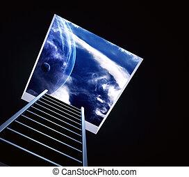 Conceptual image - way to imagination