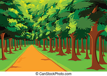 Way to Jungle - illustration of road going in between woods
