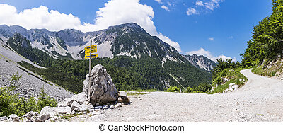 Way to Maltschacher Alm in Austria and view to Karawanks -...
