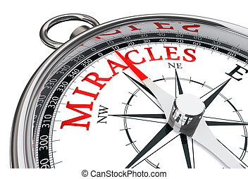 way to miracles indicated by concept compass close up