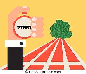 Way to money success  business concept, flat design vector