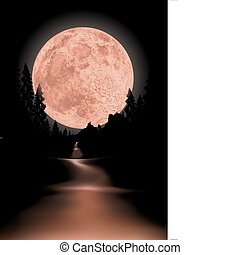 Way to red fullmoon - glowing fullmoon background the moon ...