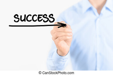 Young businessman drawing succes concept. Isolated on white.