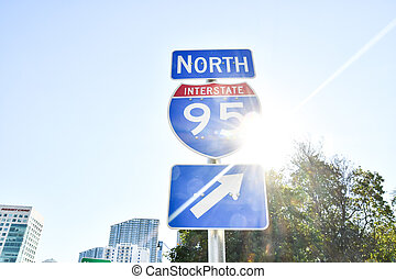 way to success, photo as a background interstate 95 street sign with blue sky , miami city florida usa america