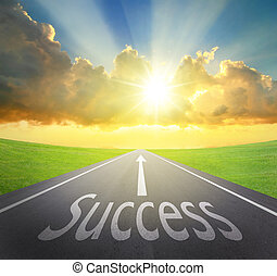 Way to Success, road symbolizing the improvement of success and sunrise with asphalt road and green grass, great for your design and concept