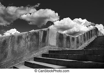 way to the heaven - stairs from granite and clouds