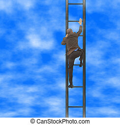 Way to the top - businessman go upstairs(made from my...