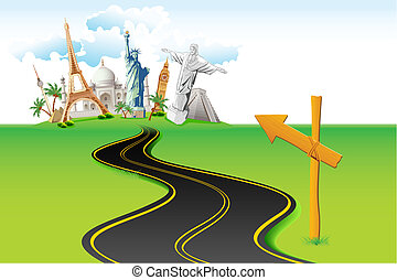 Way to World Travel - illustration of way leading to world...