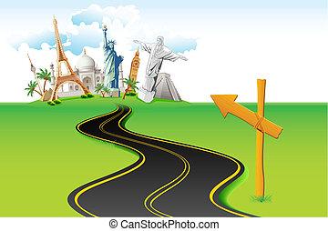 Way to World Travel - illustration of way leading to world ...