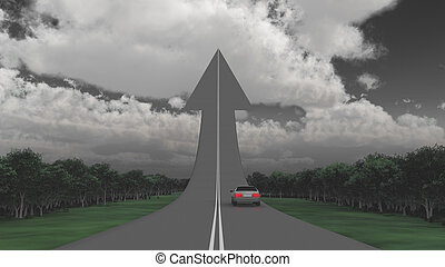 Way Up - Car on a road in a shape of arrow.