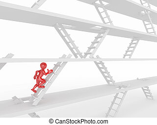 Way up. People and ladders. - Way up. People and ladders on ...