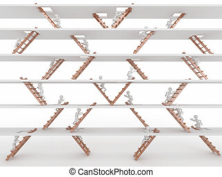 Way up. People and ladders. - Way up. People and ladders on...