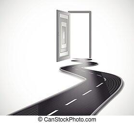 Way with opened door. Vector