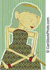 mixed media/collage style illustration of a javanese puppet