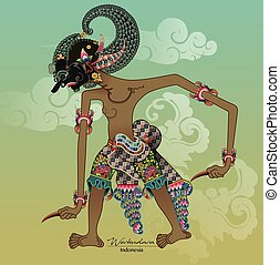 Wayang Vector, Werkudara or Bima - Vector illustration,...