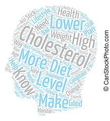 ways to lower your cholesterol text background wordcloud concept