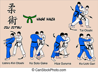 waza, cor, jitsu, jiu, 3, nage