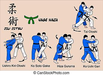 waza, kleur, jitsu, jiu, 3, nage