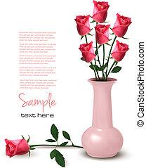 wazon, wektor, róże