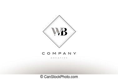 Wb W B White Letter Logo Design With Black Background Wb W B White