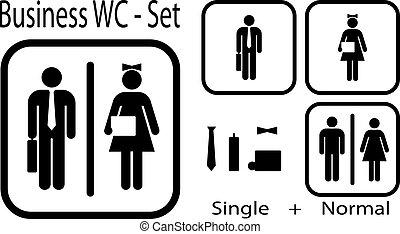 wc, значок, для, бизнес, люди