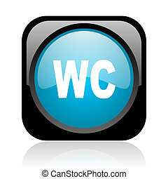 wc black and blue square web glossy icon