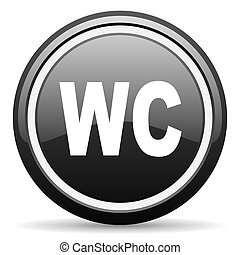 wc black glossy icon on white background