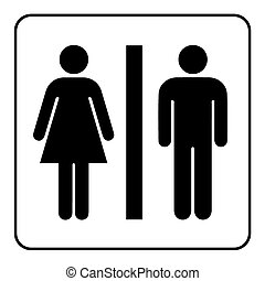 Restroom sign. Male and female toilet icon denoting restroom facilities for both men and women. Lady and a man WC emblem. Lavatory symbol on white background. Stock Illustration