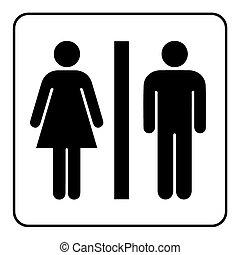 wc black sign