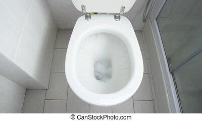 WC flush - Flush clean wc, water splash in toilet.
