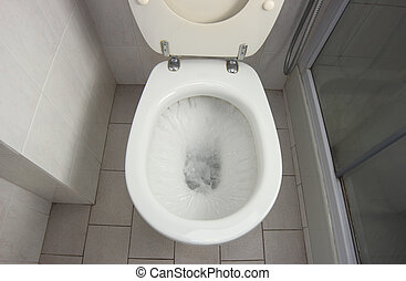 WC Flush - Flush clean wc, water splash in toilet.