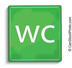 wc green glossy icon